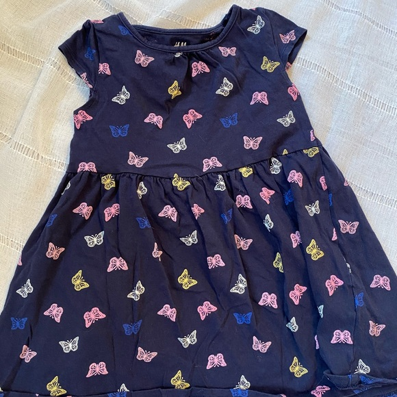 Girls Navy blue dress with colorful butterfly's